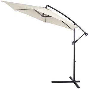 Sonnenschirm Ø330cm UV Schutz 40+ Ampelschirm Marktschirm Gartenschirm Kurbel , Farbe:creme