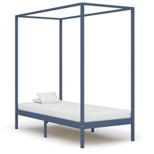 Hochwertigen Himmelbett-Gestell Bettgestell Himmelbett-Bettrahmen für Schlafzimmer Jugendbett Grau Massivholz Kiefer 90 x 200 cm