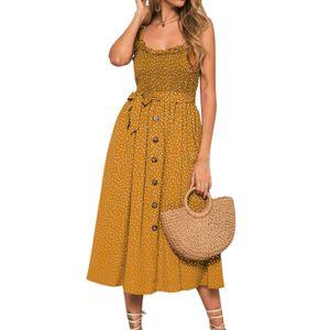 Damen Ärmellos Kleid Strand Böhmen Maxi Langes Kleid Rüschen Saum Sommerkleid, Gelb, 38