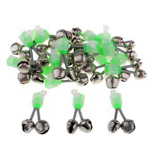20 Stück Angeln LED Aalglocken-Set Aal-Glöckchen doppelt Bissanzeiger zum Angeln - Grün