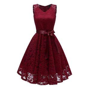 y Elegante Frauen Spitze Hallow Out Kleid aermellose V-Ausschnitt Guertel Suesse Prinzessin Party Abendkleid [L]