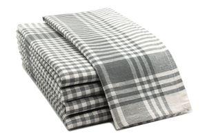 5er Set Geschirrtücher, Baumwolle, 50x70 cm, grau-kariert
