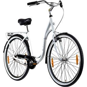 Galano Summer 28 Zoll Singlespeed Hollandrad Damenrad 700c Fixie Fahrrad Single Speed Bike Fixed Gear, Farbe:weiß, Rahmengröße:48 cm