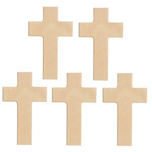 Blanko Holzkreuz - Wandkreuz Buche natur zum Selbstgestalten 20x12cm, 5er Pack