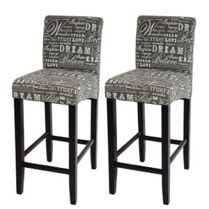 2x Barhocker HWC-C33, Barstuhl Tresenhocker, Holz  Schriftzug, grau, dunkle Beine, Stoff/Textil