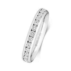 Platin 950 3,1mm Halb Eternity Damen - Diamant Trauring/Ehering/Hochzeitsring Brillant-Schliff 1.04 Karat G - SI1, 51 (16.2); WJS2052PT950