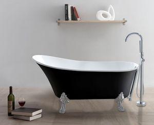 Badewanne CLASSICO-SW (schwarz-weiß) 160 x 80 x 72 cm mit verchromten Füßen