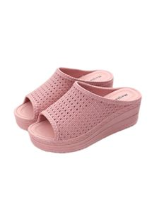 Damen Hohlpantoffeln Mode Einfarbige Sandalen Wedge High Heels Wasserdichte Sandalen,Farbe: Pink,Größe:38