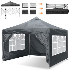 3x3m Pop Up Pavillons Festzelt Partyzelte Wasserdicht Gartenpavillon Outdoor Überdachung (Grau)