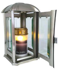 Grablaterne, Grableuchte  Edelstahl abgerundet modern mit Facettenglasscheiben mattiert inkl. LED-Grablicht 24 cm