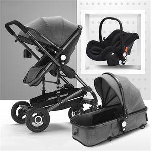 Kinderwagen 3 in1 Kombi Komplettset Buggy Babywanne Babyschale Autositz -Black