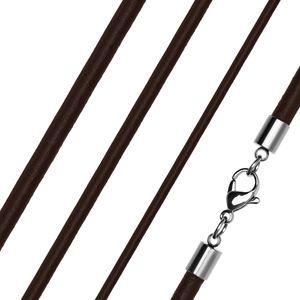 Lederkette Halskette Lederband Kette Echtleder Rindsleder Karabiner Edelstahl Kette für Anhänger dunkelbraun 2 mm 40 mm