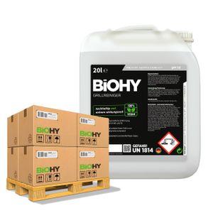 BiOHY Grillreiniger (24x20l Kanister) | Reiniger für Holzkohle-, Gas- und Elektrogrill | Aktivschaum gegen angebranntes Fett und Öl | Materialschonend, effektiv und nachhaltig