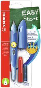 Ergonomischer Schulfüller für Linkshänder - STABILO EASYbirdy - inklusive Patrone Pastel Blau/Hellblau Feder A