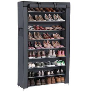 SONGMICS XXL Schuhschrank mit 10 Schicht für ca. 45 Paar Schuhe 160 x 88 x 28 cm Schuhregal Schuhständer Grau RXJ36G