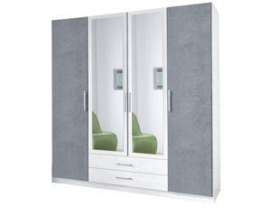 Wimex Kleiderschrank Schlafzimmer Schrank Spiegel Cliff weiß - beton lichtgrau 179cm
