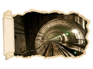 3D Wandtattoo U Bahn U-Bahn Zug Tunnel Retro Tapete Wand Aufkleber Wanddurchbruch Deko Wandbild Wandsticker 11N2228, Wandbild Größe F:ca. 162cmx97cm