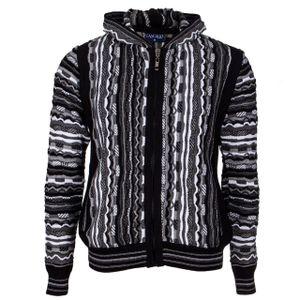 Cascallo® Tony Herren Strickjacke mit Kapuze, Reißverschluss, Seitentaschen - Schwarz-Weiß XL