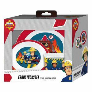 p:os 27258 Melaminset Feuerwehrmann Sam, mehrfarbig, 3-teilig (1 Set)