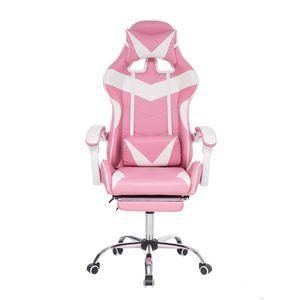 Geepro Rosa Bürostühle Gaming Racing Schreibtischstuhl Drehbar Verstellbar 150kg Chefsessel Bürostuhl mit Fußstütze Geschenk