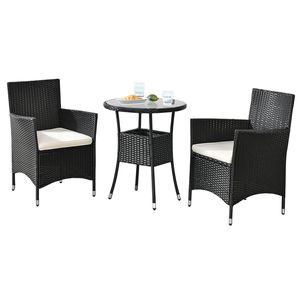 Juskys Polyrattan Balkon Set Bayamo 2 Personen – Tisch mit Glasplatte & 2 Stühlen – Wetterfeste Balkonmöbel – Auflagen waschbar – schwarz – creme