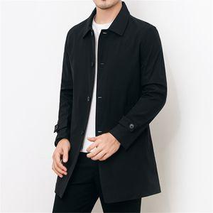 Winter Herren einfarbige Taschenkante Farbe Gold Knopf lässig langen Trenchcoat Größe:XL,Farbe:Schwarz