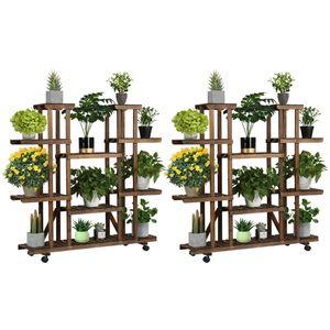 Yaheetech 2x Pflanzenregal Balkon Blumenregal Outdoor Blumentreppe Holz Blumenständer mehrstöckig 124,5 x 33 x 120 cm