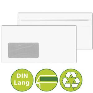 100 x Briefumschläge Kuverts DIN Lang Fenster selbstklebend 110x220mm Weiß