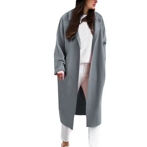 Loose Solid Revers Coat Trenchcoat Cardigan Tops für Damen Größe:M,Farbe:Light blue