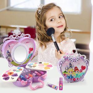Anziehspielzeug Make-up Kosmetikbox mit Spiegelleuchten Pretend Play Maedchen Kosmetikset Umweltspielzeug Beauty Sicherheit Spielzeug fuer Kinder