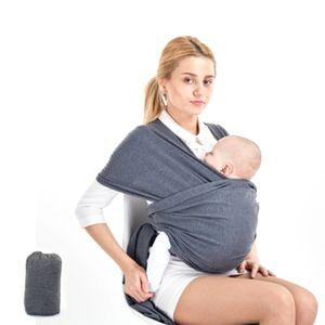 Tragetuch - elastisches Babytragetuch für Früh- und Neugeborene  (5,3m x 0,58m, dunkelgrau)