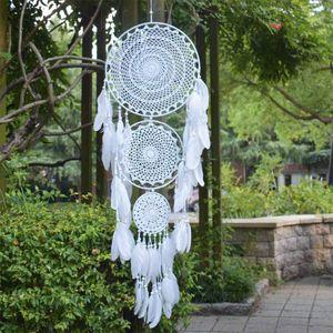 Großer Traumfänger mit 3 Kreisen, weiße Makramee-Federn zum Aufhängen für Vintage-Hochzeitsdekoration 35 cm Kreis 110 cm lang
