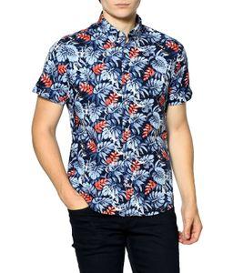TOMMY HILFIGER Hawaii-Hemd stylisches Herren Sommer-Hemd mit Allovermuster Blau/Rot, Größe:S