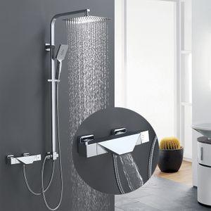 Thermostat Duschsystem mit Trennbar Badewannenarmatur Wasserfall Duscharmatur Duschset 3 Funktion Handbrause Überkopfbrause Duschstange Regendusche für Bad/Badewanne