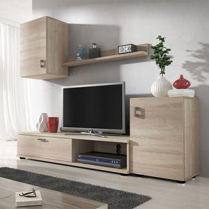 Mirjan24 Wohnwand Lia, Praktische Anbauwand, Schrankwand, Hängeschrank, TV-Lowboard, Wandregal, Stilvoll Wohnzimmer-Set (Sonoma Eiche)