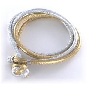 Armband - Leder - Echsenprägung - silber/gold