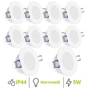 10er Set flache WEEVO LED Einbaustrahler Downlight 2700K 5W 230V Bad & Außen IP44