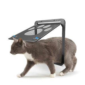 Pet Screen Door Magnetic Flap Screen Automatische abschliessbare schwarze Tuer fuer kleine Katze Kitten Puppy