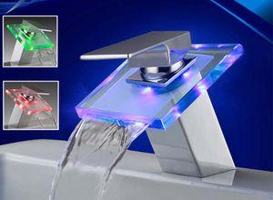 LED RGB Wasserfall Glas Armatur Waschbecken Bad Chrom | Wasserhahn Waschtisch | Einhebelmischer Waschtischarmatur | Einhandmischer Badarmatur