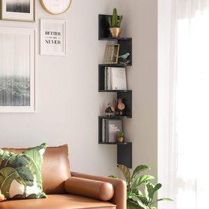 VASAGLE Bücherregal mit 5 Ebenen 127,5cm | Regal aus Holz | Eckregal mit Zickzack-Design schwarz LBC20BK