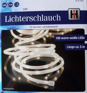 Lichterschlauch mit 100 warmweißen Miro LED für Innen und Außen 5m