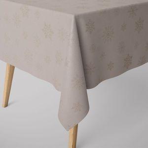SCHÖNER LEBEN. Tischdecke Ice Star Schneeflocken Eiskristalle beige goldfarbig verschiedene Größen, Tischdecken Größe:130x200cm