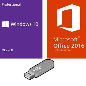 Microsoft Bundle-Set Microsoft Windows 10 Pro Betriebssystem + Office Professional Plus 2016 + Lizenz-Key 1PC 32/64 Bit mit USB-Stick deutsche Vollversion für Laptop/PC/Notebook (USB-Stick)