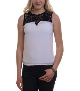 Madonna Damen Chiffon Top mit Spitze ärmelloses Trägertop, weiß, Größe:S