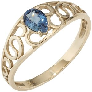 JOBO Damen Ring 585 Gold Gelbgold 1 Safir blau Goldring Größe 52