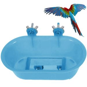 Badewanne mit Spiegel, Vogelspiegel Badewanne, Vogelkäfig Badewanne Zubehör, Wellensittich Holzspiegel Sitzstange  für Papagei Wellensittich Nymphensittich Sittich Fink