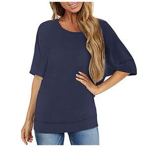 Lässiges einfarbiges Kurzarm-T-Shirt mit schulterfreien Nähten für Damen Größe:S,Farbe:Marine