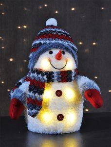 Schneemann Dekofigur Weihnachten Winter Schnee Figur Deko mit weissen LED