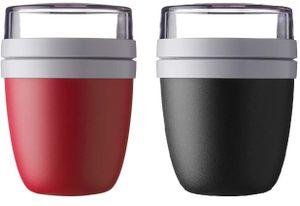 Mepal Lunchpot Ellipse 2-er Set Lunchbox Essensbehälter Reisebecher (Black and Red)