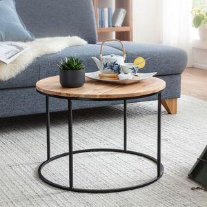 WOHNLING Couchtisch 60x43x60 cm Akazie Massivholz / Metall Sofatisch | Design Wohnzimmertisch Rund | Kaffeetisch Massiv | Kleiner Tisch Wohnzimmer